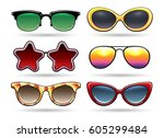 colored sunglasses vector... | Shutterstock .eps vector #605299484