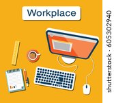 workplace internet design | Shutterstock .eps vector #605302940