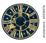 Ancient Clock Isolated On Whit...