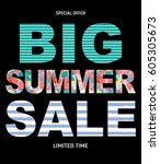 big summer sale abstract... | Shutterstock .eps vector #605305673