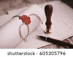 notary's public pen and stamp... | Shutterstock . vector #605305796