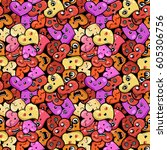 seamless heart background with... | Shutterstock . vector #605306756