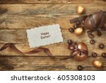 easter background with golden... | Shutterstock . vector #605308103