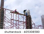construction site with crane... | Shutterstock . vector #605308580