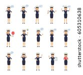 big set of female pilot... | Shutterstock .eps vector #605310638