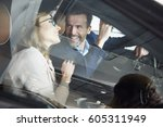shot through the car window of... | Shutterstock . vector #605311949