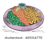 traditional english dish fish... | Shutterstock .eps vector #605316770