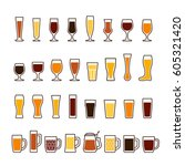 beer in glasses and mugs ... | Shutterstock . vector #605321420