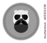 round badge icon. bear abstract ... | Shutterstock .eps vector #605322158