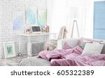 design interior of teenage girl ... | Shutterstock . vector #605322389