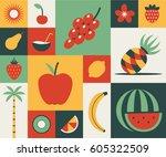 fruit  vector flat illustration ...   Shutterstock .eps vector #605322509