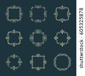 huge rosette wicker border... | Shutterstock .eps vector #605325878
