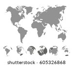 world map with continents on... | Shutterstock .eps vector #605326868
