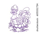 chicken on eggs purple. happy... | Shutterstock .eps vector #605331734