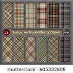 set in beige tartan seamless... | Shutterstock .eps vector #605332808