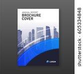 business brochure cover design... | Shutterstock .eps vector #605334848