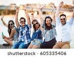 beautiful happy friends... | Shutterstock . vector #605335406