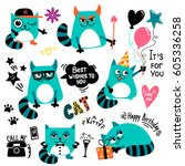 set of cartoon cats character.... | Shutterstock .eps vector #605336258