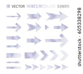 watercolor arrows  vector...   Shutterstock .eps vector #605338298