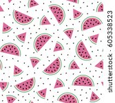 melon background. seamless... | Shutterstock .eps vector #605338523