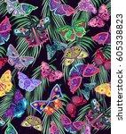 colored butterflies  palm... | Shutterstock . vector #605338823