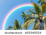 coconut tree and blue sky with... | Shutterstock . vector #605340524