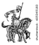 a knight holding a spear or... | Shutterstock .eps vector #605345183