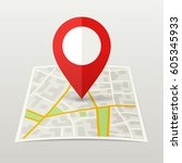 map of city with red marker. | Shutterstock . vector #605345933