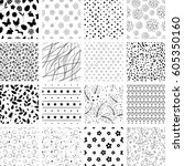set of seamless easter patterns | Shutterstock .eps vector #605350160