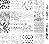 set of seamless easter patterns   Shutterstock .eps vector #605350160