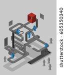 concept of teamwork building...   Shutterstock .eps vector #605350340