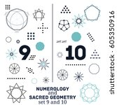 sacred geometry and numerology... | Shutterstock .eps vector #605350916