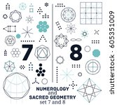 sacred geometry and numerology... | Shutterstock .eps vector #605351009