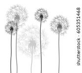 background with dandelions | Shutterstock .eps vector #605351468