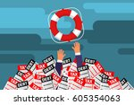 helping business survive.... | Shutterstock .eps vector #605354063