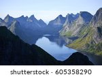 Small photo of Mountain chain, view to Bunes from Reinebringen, Lofoten Islands, Norway