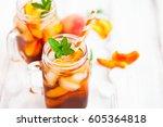 homemade iced lemonade with...   Shutterstock . vector #605364818