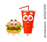 vector hamburger and cola cup.... | Shutterstock .eps vector #605367050
