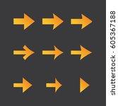 orange arrows on dark...   Shutterstock .eps vector #605367188