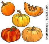 vector set of pumpkin. color... | Shutterstock .eps vector #605367254