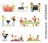 people on bbq picnic outdoors... | Shutterstock .eps vector #605368604