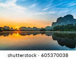 beautiful nature reflection on...   Shutterstock . vector #605370038