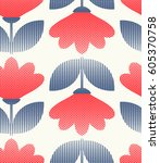 seamless retro pattern with... | Shutterstock .eps vector #605370758