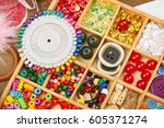 set of accessories and jewelry... | Shutterstock . vector #605371274