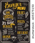 food menu for restaurant and... | Shutterstock .eps vector #605375150