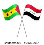 sao tomean and iraqi crossed... | Shutterstock .eps vector #605382014