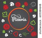 pizzeria identity concept.... | Shutterstock .eps vector #605384648