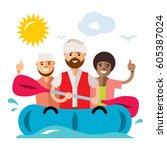 vector refugee migrants boat....   Shutterstock .eps vector #605387024