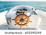 old boat steering wheel from... | Shutterstock . vector #605390249