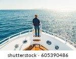 Man On A Yacht. Beautiful View...